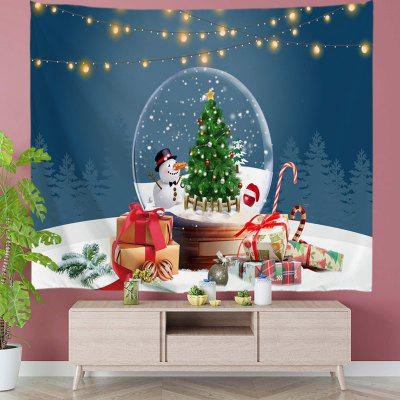 Christmas Tree and Snowman in Crystal Ball Digital Print Tapestry