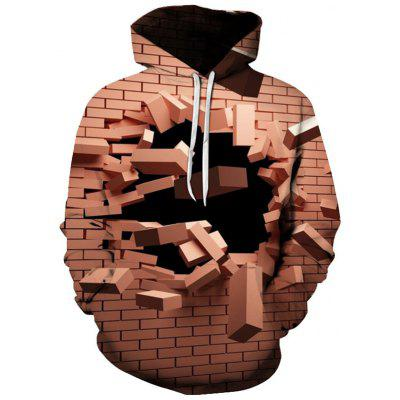 Men 3D Creative Design Wall Pattern Print Hooded Sweater Hoodie