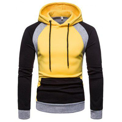 Men Fashion Casual Slim Stitching Hooded Jacket Sweater Hoodie
