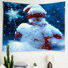 Christmas Night Snowman Pattern Background Wall Tapestry - DEEP BLUE