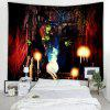 Halloween Witch Pattern Background Tapestry - RED