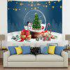 Christmas Tree and Snowman in Crystal Ball Digital Print Tapestry - MULTI-A