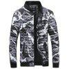 Men Fashion Casual Slim Camouflage Stand Collar Jacket - RED