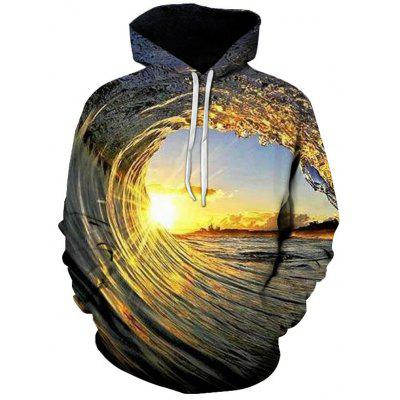 Men's 3D Spray Vortex Hoodie Creative Design Printing Clothing