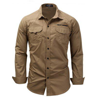 FREDD MARSHALL Men's Long Sleeve Shirt Solid Color Military Casual Top