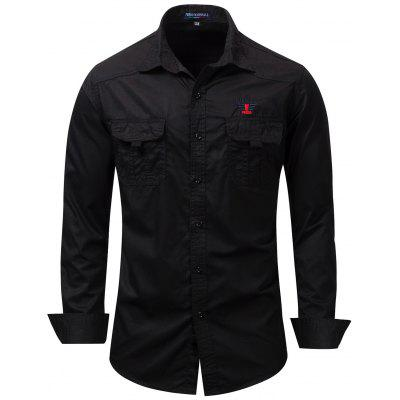 FREDD MARSHALL Men's Black Embroidered Shirt Casual Long-sleeved Top
