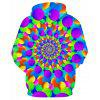 Men's Hoodie 3D Color Vortex Hooded Fashion Printing - MULTI-A