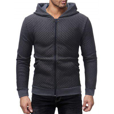 Men's Fashion Plaid Print Hoodie Zip Pocket