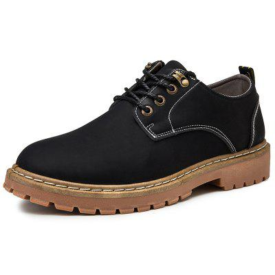 AILADUN Men's Solid Color Lace-Up Tooling Boots Casual Shoes
