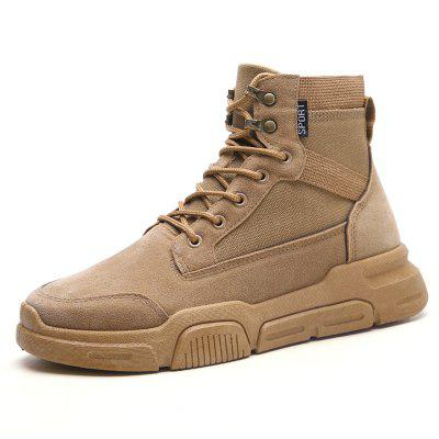 AILADUN Men's Solid Color Casual High-top Shoes Durable