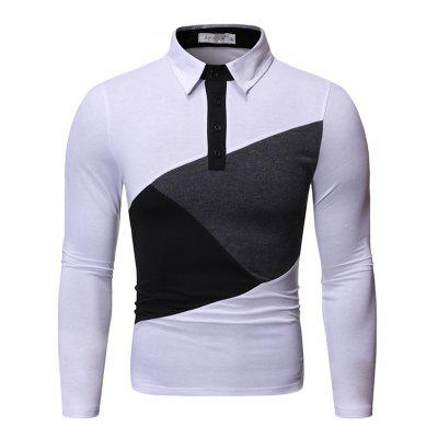 Men's Turn-down Collar Contrast Color Long Sleeve T-shirt