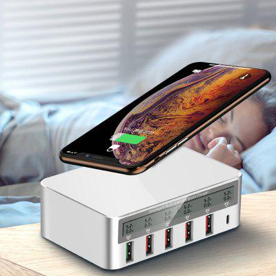 818P Multi-port snellader QC3.0 USB + Type-C Smart Socket 100W