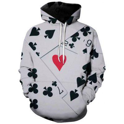 Men's Personality 3D Playing Card Print Hoodie Sweater