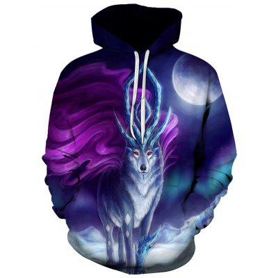 Men's Cartoon Wolf Print 3D Pattern Hoodie Sweatshirt Casual