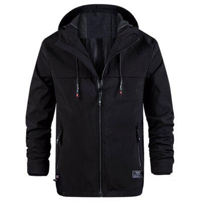 Men's Simple Design Hooded Jacket Zipper Pocket