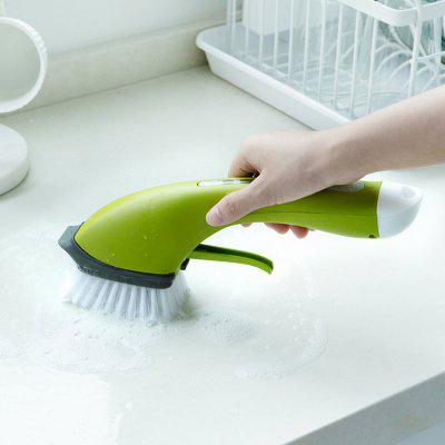 Non-slip Long Handle Automatic Addition Detergent Water Spray Cleaning Brush for Kitchen