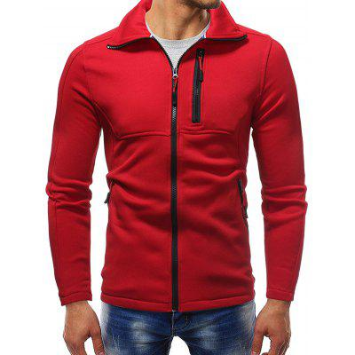 Men's Casual Solid Color Turn-down Collar Sweatshirt Zip Pocket