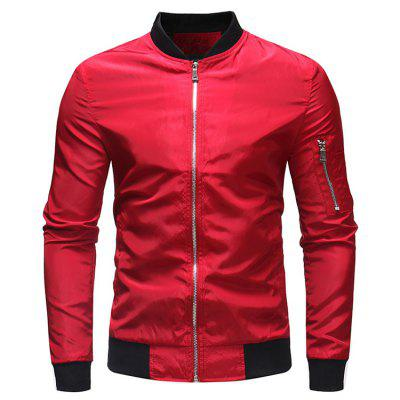 Men's Simple Solid Color Outdoor Stand Collar Military Jacket Arm Pocket