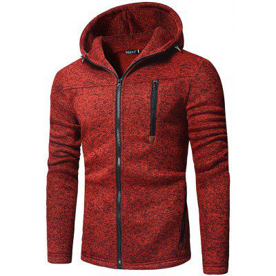 Men's Fashion Printed Zipper Hooded Hoodie Chest Pocket
