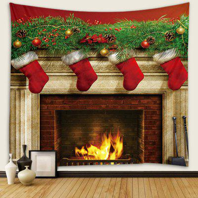Christmas Fireplace Pattern Tapestry Wall Background DIY Holiday Decoration