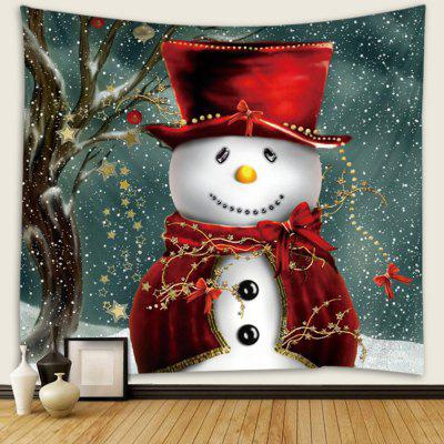 Cute Christmas Snowman Pattern Polyester Tapestry Wall Background DIY Holiday Decoration