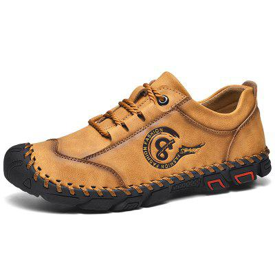 Men's Hand Stitching Lace-up Casual Shoes Anti-collision Toe Outdoor Mountaineering