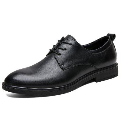 SENBAO Men's Pointed Toe Lace Up Dress Shoes Full Grain Leather