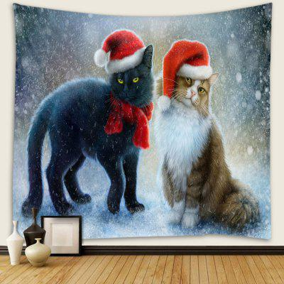 Christmas Cat and Dog Pattern Polyester Tapestry Wall Background DIY Holiday Decoration