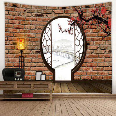 Antique Plum Blossom Door Pattern Tapestry Polyester Wall Background 3D Digital Printing DIY Decoration
