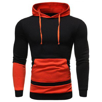 Men's Casual Contrast Stitching Hooded Hoodie Pullover