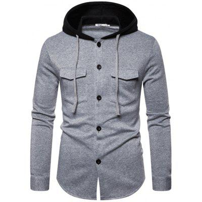 Men's Button-down Casual Hoodie with Drawstring Double Chest Pocket