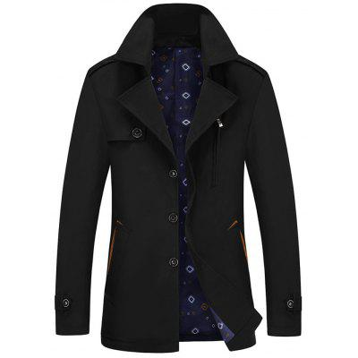 Men's Autumn Trend Turn-down Collar Trench Business Long Coat