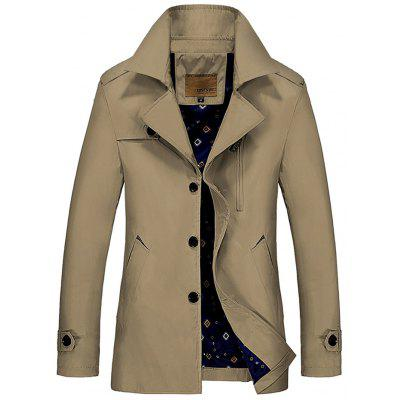 Tendência de outono masculina Turn-down Collar Trench Business Long Coat