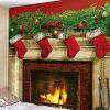Christmas Fireplace Pattern Tapestry Wall Background DIY Holiday Decoration - MULTI-I