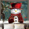 Cute Christmas Snowman Pattern Polyester Tapestry Wall Background DIY Holiday Decoration - RED
