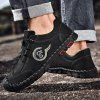 Men's Hand Stitching Lace-up Casual Shoes Anti-collision Toe Outdoor Mountaineering - BLACK
