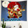 Santa Claus Under The Moon Pattern Polyester Tapestry Wall Background DIY Holiday Decoration - CORNFLOWER BLUE
