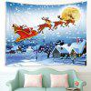 Running Christmas Deer Pattern Polyester Tapestry Wall Background DIY Holiday Decoration - WHITE