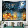 Halloween Pumpkin Light Pattern Tapestry Polyester Wall Background 3D Digital Printing DIY Decoration - SILK BLUE