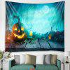 Halloween Forest Pumpkin Light Pattern Tapestry Polyester Wall Background 3D Digital Printing DIY Decoration - BLUE KOI