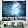 Halloween Moon Pattern Tapestry Polyester Wall Background 3D Digital Printing DIY Decoration - BLUE IVY