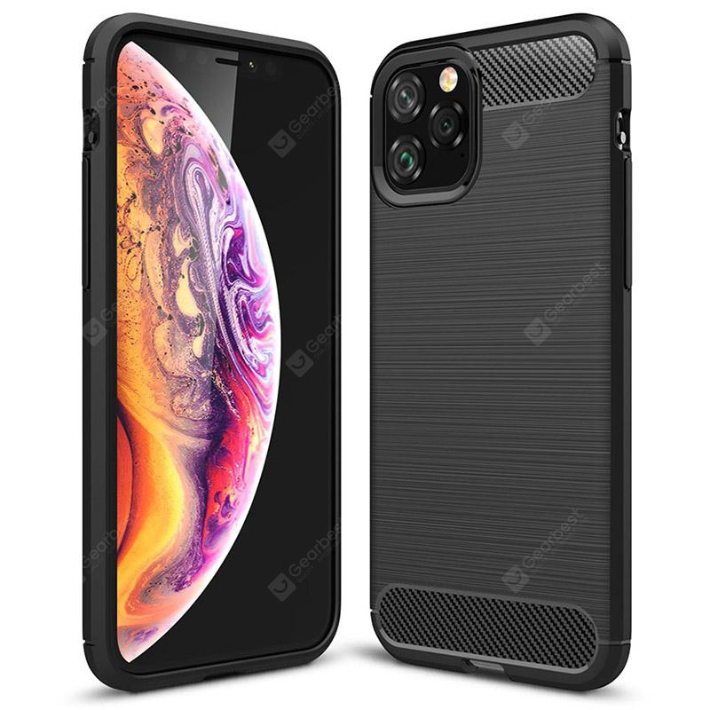 Naxtop Carbon Fiber Brushed Soft Back Cover Fully Protected Phone Case for iPhone 11 Pro Max / 11 Pro / 11