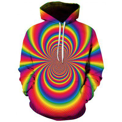 Men's Color Wave 3D Digital Print Hoodie Personality Pullover