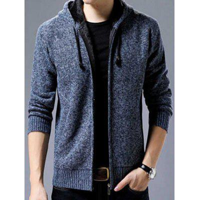 Men's Thick Keep Warm Sweater Coat Round Neck Zipper with Drawstring