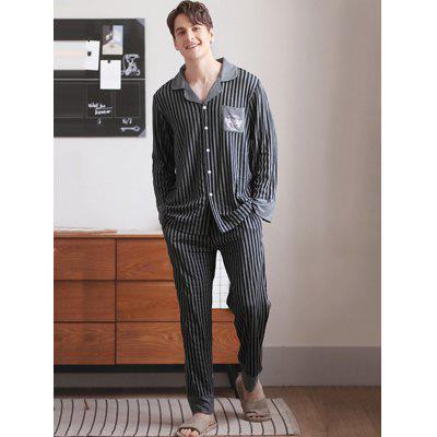 Men's Long Sleeve Striped Print Turn-down Collar Pajama Set Home Wear with Pocket