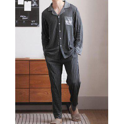 Men's Striped Turn-down Collar Pajamas Set Casual Outerwear Sleepwear Home Clothing