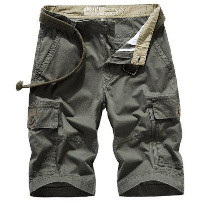 Men's Outdoor Casual Cotton Shorts Solid Color Multi Bags Pants
