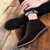 SENBAO Men's Cowskin Lace Up Boots Concise Solid Color Daily Shoes - DEEP BROWN