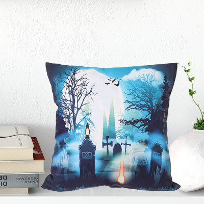 Halloween Style Pillowcase Digital Print Cushion Cover Polyester Short Plush Material 45 x 45cm