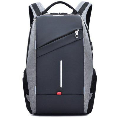 YAJIANMEI LS926 Men Contrast Color Backpack Business Computer Bag with Reflective Tape Password Lock Anti-theft Packet